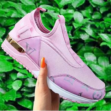 LV Shoes Louis Vuitton Women Sneaker New fashion letter monogram print leisure Sock-Like Sports Shoes
