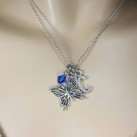 Personalized, Initial, Birthstone, Butterfly, Silver, Necklace, Lovers, Friends, Sister, Gift