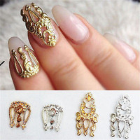 10X Women 3D Hollow Nail Art Alloy Tips Decoration Jewelry Glitter Rhinestone