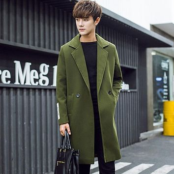 2017 winter men's new Solid color Wool Blends Medium length style trench coat men keep warm Army green clothes woolen overcoat