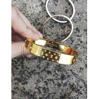 LV tide brand men and women fashion wild embossed letter ring bracelet gold