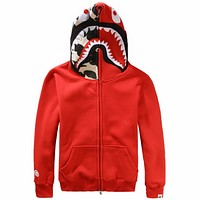 Bape 2018 men and women couples tide brand shark hoodie hooded sweater F0897-1 red
