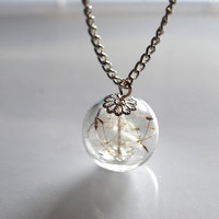 Dandelion Necklace 09 Make A Wish Glass by NaturalPrettyThings