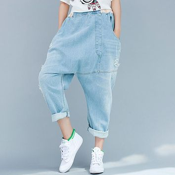 Women Denim Cross Pants 2016 Jeans Casual crotch pants Loose personalized irregular Bleached Trousers Jeans