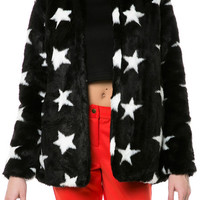 The Stars Faux Fur Jacket in Black & White