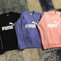Puma Women Fashion Print Pullover Tops Sweater Sweatshirts