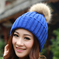 Brand 2014 Winter Hats for women Candy Beanie Knitted Caps Crochet Hat Rabbit Fur Pompons Ear Protect Casual Cap Chapeu Feminino