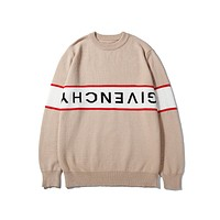 Givenchy hot seller of casual couples' sweaters and fashionable alphabet knits Apricot