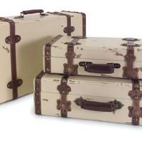3 Decorative Suitcases - Ivory With Leather Belt Straps