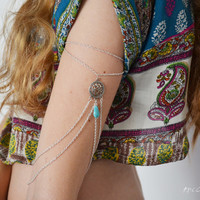 Armlet Slave Bracelet Arm Bracelet Piece Hipster Eclectic Silver Chain Moroccan Charm Turquoise Bead Bohemian Drape Body Jewelry MinervaAB