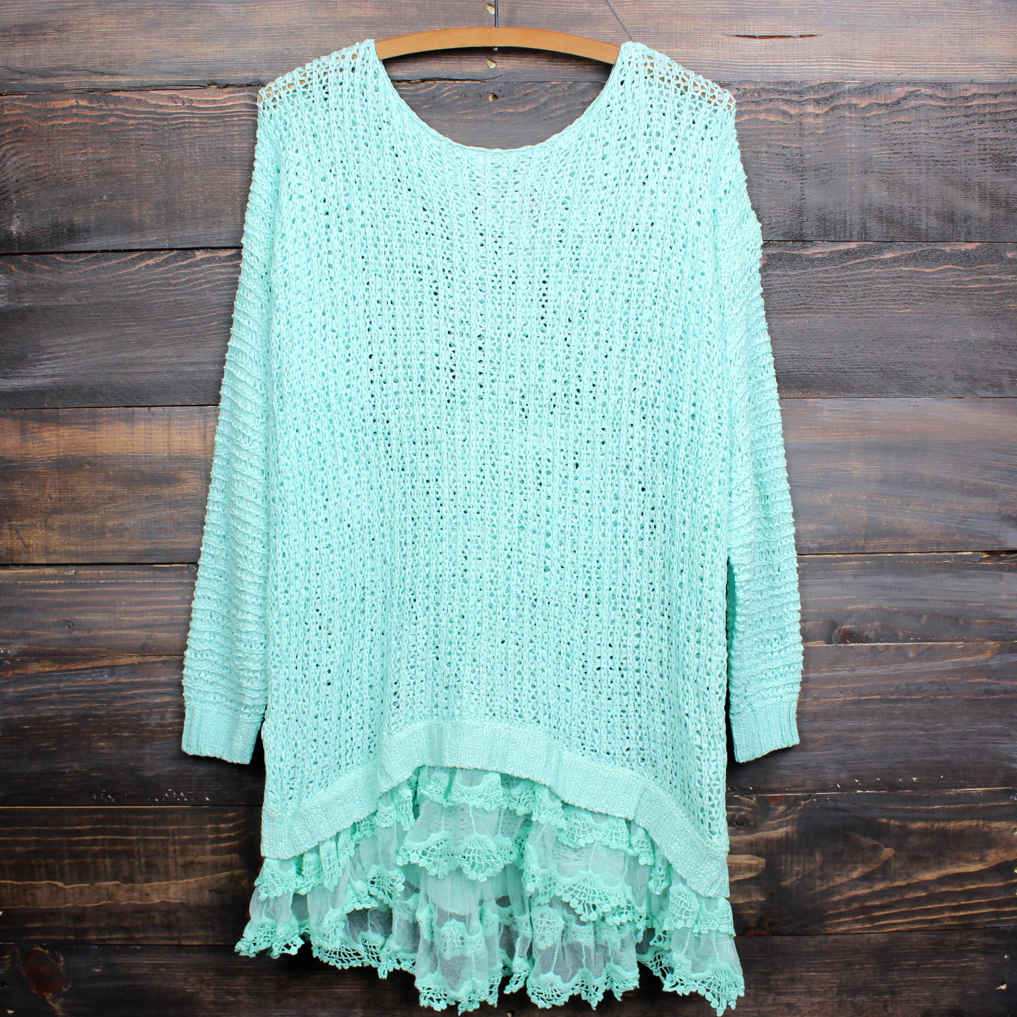 Image of all eyes on me lace trim sweater tunic - mint