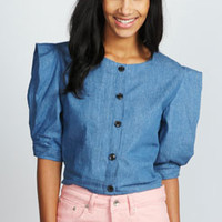 Lucie Exaggerated Sleeve Denim Crop Top