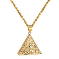 Evil Eye Pyramid Designer Pendant Box Necklace Stainless Steel