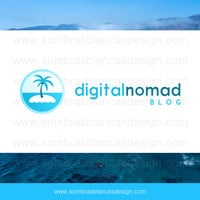 OOAK Premade Logo Design - Blue Island - Perfect for a technology blog or a travel agency