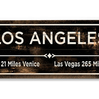 """Los Angeles"" Wall Sign, Natural, Signs"