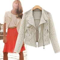 Summer Women's Fashion Lace Hollow Out Scarf Slim Long Sleeve Jacket [9229188364]