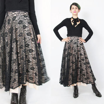 Vintage 1950s Skirt Black Lace Skirt Floral Lace Maxi Skirt High Waist Skirt Full Circle Skirt Rockabilly Pinup Blush Pink Layered (S/M)