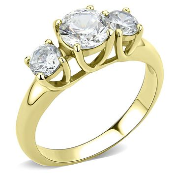 3 Stone IP Gold Stainless Steel Ring Anniversary Gift