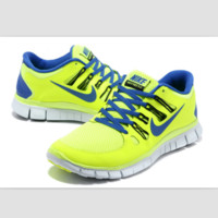 NIKE running breathable casual shock Damping running shoes Fluorescent green