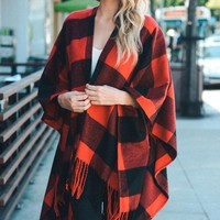 The Buffalo Plaid Poncho - Red