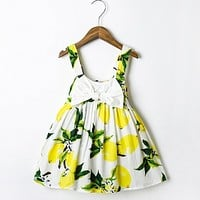 2017 New Brand Baby Girl Dress Clothes Floral Lemon Bowknot Sling Newborn Dress Kids Summer Sundress Mini Bow Dress Vestido Bebe
