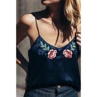 Hot Comfortable Stylish Beach Summer Bralette Sexy Backless V-neck Flowers Embroidery Vest [9940086339]