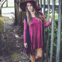 Mineral Wash Dress in Wine