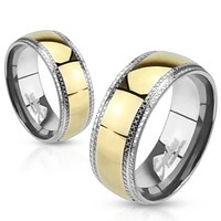 Etched Edges and Gold IP Center Stainless Steel Band Ring