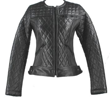 Kixters Hestia - Black Leather Quilted Motorcycle Jacket