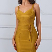 No Time To Waste Goldenrod Yellow Gold Sleeveless V Neck Tie Waist Bodycon Bandage Mini Dress