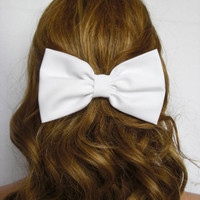 White Hair Bow Clip White Bow White Hair Clip bows for women bows for girls first communion bow classic bow fabric hair bow hairbows