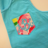 Monogrammed Pocket Tank with Lilly Fabric font SPRINGY