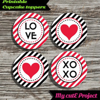 Love XOXO Heart - Cupcake toppers - Red & Black - Oblique Stripes - Instant Download - Party printable - Party favor