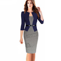 2015 Women New Fashion Autumn Spring Style Faux Two Piece Elegant Plaid Long Sleeve Pencil Dresses Office Wear Work Outfits S122