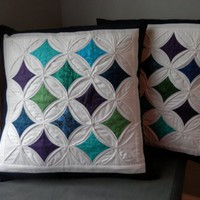 "Blue Cathedral Window Quilted Pillow Cover for 20"" Pillow Insert"
