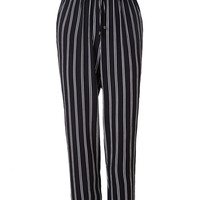 LE3NO Womens Lightweight Striped Straight Cropped Pants with Drawstring Waist (CLEARANCE)