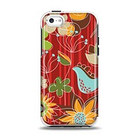 The Red Striped Vector Floral Design Apple iPhone 5c Otterbox Symmetry Case Skin Set
