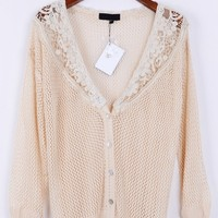Crocheted Top Button-up Cardigan - OASAP.com
