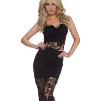 Black Strapless Sleeveless Cut-Out Lace Bodycon Dress