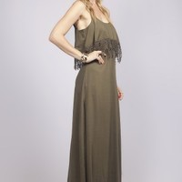 Maxi Dress in Olive with Crochet Draped Top -