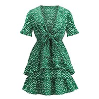 Emerald Jewels Green White Polka Dot Pattern Short Sleeve V Neck Tie Knot Ruffle Flare Casual A Line Mini Dress