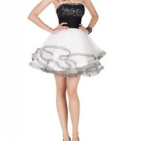 Amazon.com: GEORGE BRIDE Black And White Sweetheart Mini-Skirt Short Cocktail Dress With Appliques: Clothing