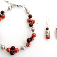 Burnt Orange Pearls Cluster Bracelet Bridesmaid Bracelet Holiday Wear Fall Jewelry Gift Jewelry Free Shipping In USA