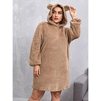 SHEIN Plus Ear Hooded Teddy Sweatshirt Dress