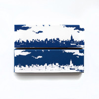New York City Skyline Canvas: New York Yankees Duo Edition (Navy Blue & White) Screenprint/Painting, New York Wall Art, Home Decor