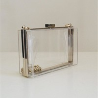 New Design Luxury Crystal Acrylic Chain Clutch Handbags Transparent Evening Bags,SKU3AK2
