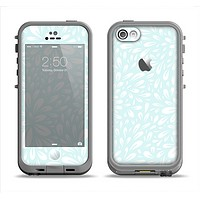 The Light Teal Blue & White Floral Sprout Apple iPhone 5c LifeProof Fre Case Skin Set