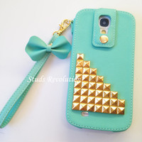 Samsung galaxy s4 case, Mint phone cover, PU gold studs samsung s IV case, Perfect holiday gift, Protective wrist case 604