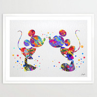 Mickey and Minnie Disney Watercolor Art Print,Wall Art Poster,Girls Room Decor Art,Wall Hanging,Kids Art,Birthday/Wedding Gift,No 43