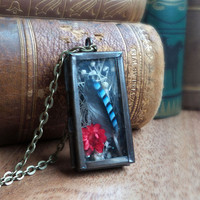 Curiosity cabinet locket pendant, blue jay feather and dry flower necklace, rustic cottage chic natural specimen necklace